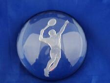 Unique Clear Half Round Studio Art Glass Tennis Paperweight Boy/Man Serving 3""