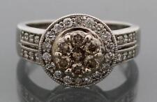 14k White Gold Champagne Diamond Ring Cocktail Size 4.25 - *Free Resizing
