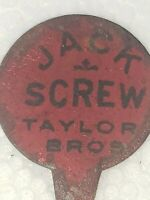 Vintage Jack Screw Chewing Tobacco Tag Taylor Bros.