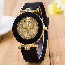 Montre chic noir doré bijou avec bracelet réglable en silicone pour femme