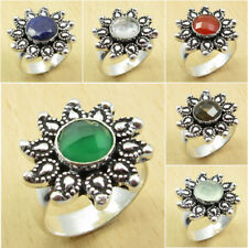Pick Your Ring Size ! 925 Silver Plated GREEN ONYX & Other Gemstones Ring Size