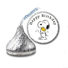 216 PEANUTS SNOOPY HERSHEY'S KISS CANDY BIRTHDAY STICKER LABELS - Party Favors