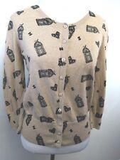 Dorothy Perkins Women's Cardigan Sweater Beige Birdcage Print Button Up size 8