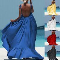 Women Boho Maxi Solid Sleeveless Long Backless Ladies Evening Party Beach Dress