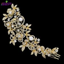 Gold Rhinestone Tiara Headpiece Wedding accessories Headband Hair comb clip