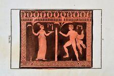 Griechische Mythologie Vasen Greek Mythology Vases ca 1850 Original Radierung 2