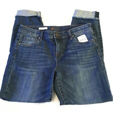Kut From The Kloth Womens Jeans Frayed Hem Straight Leg Ankle Cropped Sz 8