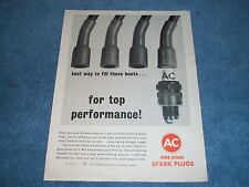 """1963 AC Fire-Ring Spark Plugs Vintage Ad """"Best Way to Fill These Boots"""""""