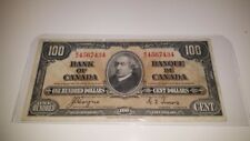 BANK OF CANADA 1937- $100 RARE  CANADIAN BANK NOTE  COYNE &TOWERS