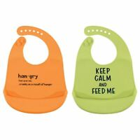 Hudson Baby Waterproof, Easy Wipe, Silicone Bib with Pocket, Hangry, One Size