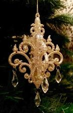 Gold Chandelier with Jewels Christmas Tree Hanging Decoration by Gisela Graham