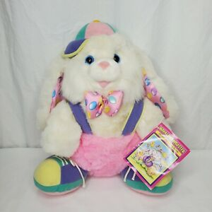 """Vintage Hopalong Hopster Plush Easter Bunny Rabbit Pink Purple With Book 16"""""""