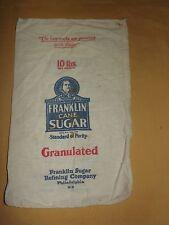 New listing Vintage Franklin Cane Sugar Philadelphia Pa Cloth 10 Lbs Sack