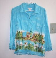 Christopher Banks Hawaiian Shirt Womens size L Tropical 100% Rayon Beach --UU=