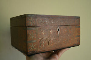 Antique British COLONIAL INDIA trinket vanity BOX brass inlay COMPLEX designs