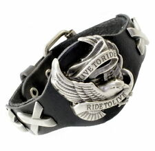 A36b Leder Armband Armreif Biker Chopper Bracelet Men Harley Eagle LIVE TO RIDE