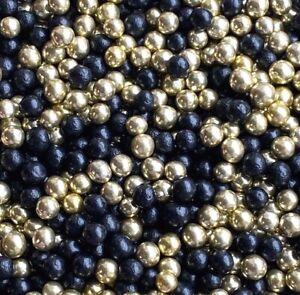 BLACK & GOLD EDIBLE PEARLS SPRINKLES SUGAR BALLS CAKE DECORATIONS 100's 1000's