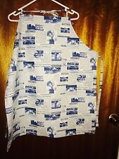 BLUE NEWSPRINT FABRIC BIB TYPE APRON