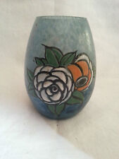 Beau vase art déco en pâte de verre émaillée signé Delatte Nancy