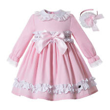 Flower Girls Floral Pink Princess Dress Headband Set Lace Long Sleeve Spanish UK