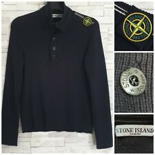 STONE ISLAND Knitted Quarter Zip/Button Jumper Black Size M Button Badge