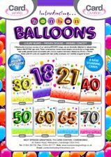 TOP SELLER! 'BALLOON CARDS' x96, MILESTONE AGES 18 - 70, wrapped just 27p unisex