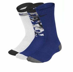 Nike Youth 3-Pair Cushioned Crew Socks, Blue Multi/ Camo Print - 5Y-7Y