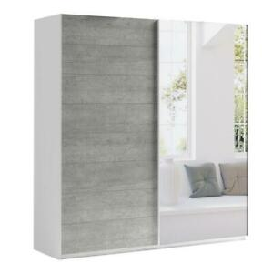 "Modern Wardrobe ""MONA"" Sliding Doors Mirror Hanging Rail Shelves width 220 cm"