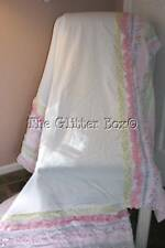 "Cribskirt Dust Ruffle Baby Girl Nursery Bedding Ruffles 14"" Drop Cottage B15"