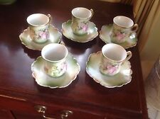 Set 5 Antique German Hand-Painted Demitasse Cups/Saucers
