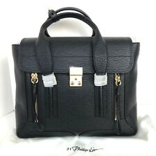 NWT 3.1 Phillip Lim Medium Pashli Shark Embossed Leather Satchel Bag Black
