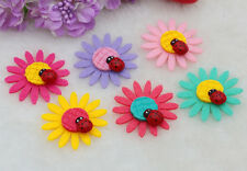 10pcs Sunflower Ladybirds Felt Non-woven Applique Trims Patch For kids DIY Craft