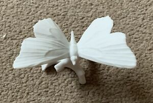 Dresden White Biscuit Porcelain Butterfly On Branch Figure