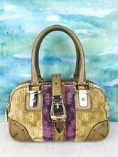 $1050 GUCCI Beige Purple Stripe Horsebit Cut Soft Velvet Boston Satchel Bag SALE