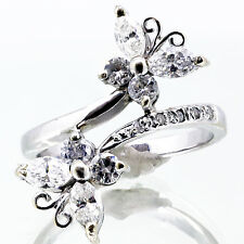 1.40 Ct Butterfly Diamond Ring  Marquee & Round cut 14k white gold