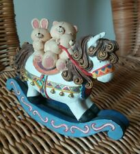 More details for limited edition forever friends bear rocking horse ornament - cute nursery decor