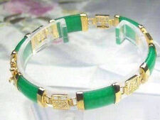 Exquisite 7.5 inch green jade 18KGP Gold Plated Lucky Bracelet  HK01