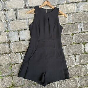 CUE Sleeveless Black Playsuit / Romper Pockets Size 6 Career Wear Corporate