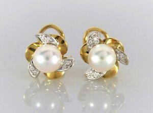 Asavo 18K Yellow White Gold 7.8mm Akoya Cultured Pearl Round Diamond Earrings