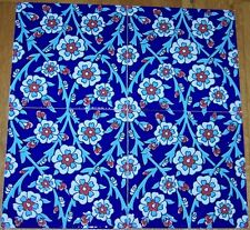 "Set of 12 Cobalt Blue Base & Daisy 8""x8"" Turkish Raised Iznik Ceramic Tile"