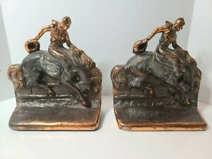 1950s RODEO COWBOY Bucking Bronco Bookends Brass Patina Metal Western Horse