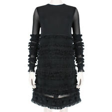 Alexander McQueen Noir Semi-transparent manches franges pompon robe XS IT38