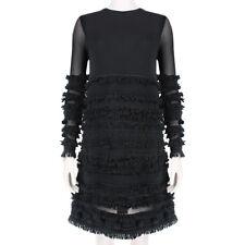 Alexander McQueen Black Semi-Sheer Sleeve Fringed Pompom Dress XS IT38