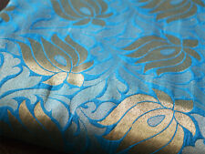 Silk Brocade Fabric Wedding Dress in Turquoise Blue and Gold