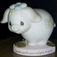 Precious Moments Figurine E9282 Youre Worth Your Weight In Gold 1982 Piggy Bank