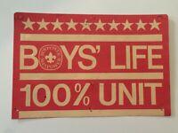 Vintage BSA Boys' Life 100% Unit Sign Boy Scouts Of America