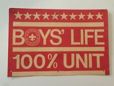 Vintage BSA Boys' Life 100% Unit Sign Boy Scouts Of America