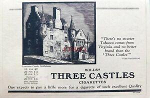 Wills's '3 Castles' Cigarettes Advert Lauriston Castle, Midlothian - 1936 Print