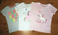 Primark Unicorn HAPPY Pink / Grey T shirt Top Girls Kids Holiday Summer NEW BNWT
