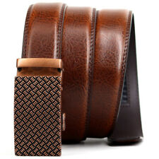 Men's Casual Brown Belts Genuine Leather Belt Click Automatic Buckle Waist strap